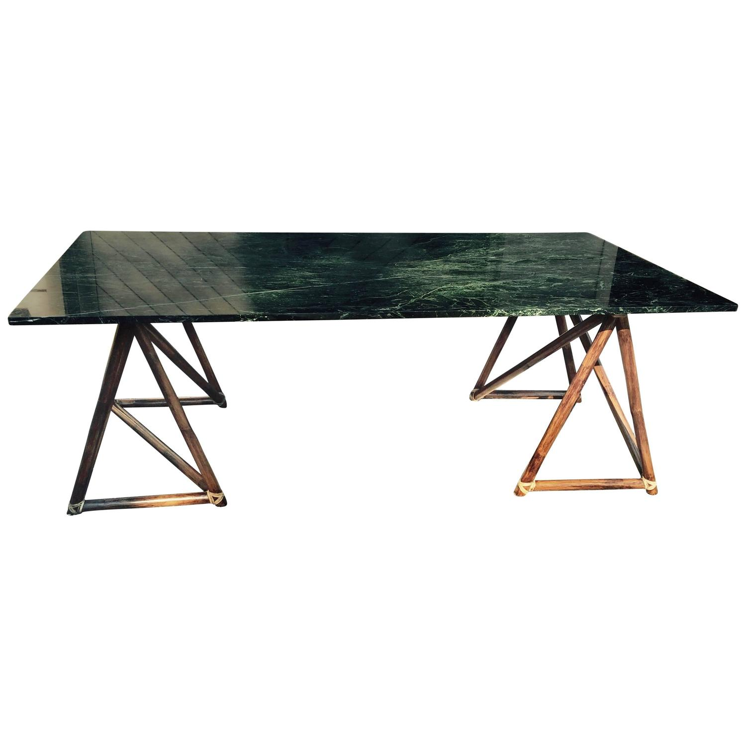 Large Green Marble McGuire Dining Table or Desk with  : 4178763z from www.1stdibs.com size 1500 x 1500 jpeg 81kB