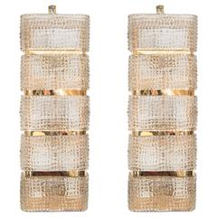 Pair of Grand Smoked Glass and Brass Banded Sconces