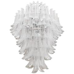 Multilayer Nickel Chandelier with Petal Form Glass Elements