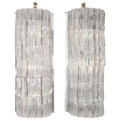 Pair of Ice Inspired Glass Sconces by Barovier