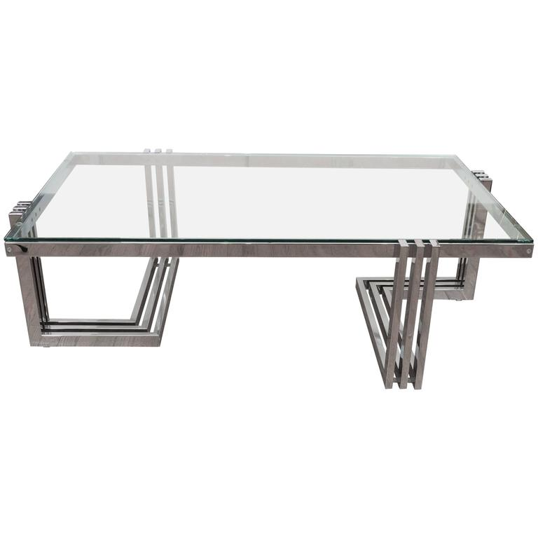 Two-Tier Chrome and Lucite Coffee Table For Sale