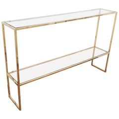 Two-Tier Brass Console Table