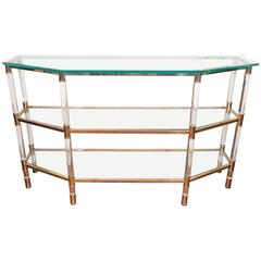 Three-Tier Lucite and Brass Console