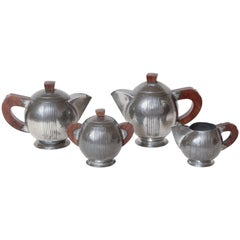 Rene Delavan French Art Deco Pewter and Wood Coffee & Tea Service