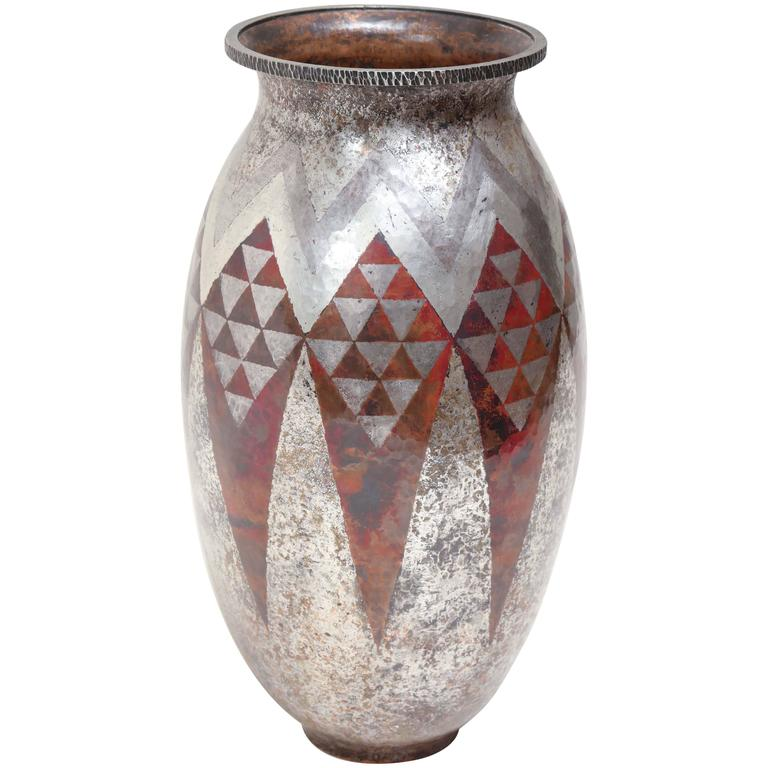 Claudius Linossier French Art Deco Copper & Silver Dinanderie Vase For Sale