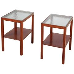 Thorald Madsen Pair of Mahogany Side Tables with Glass Top, Denmark, 1930s