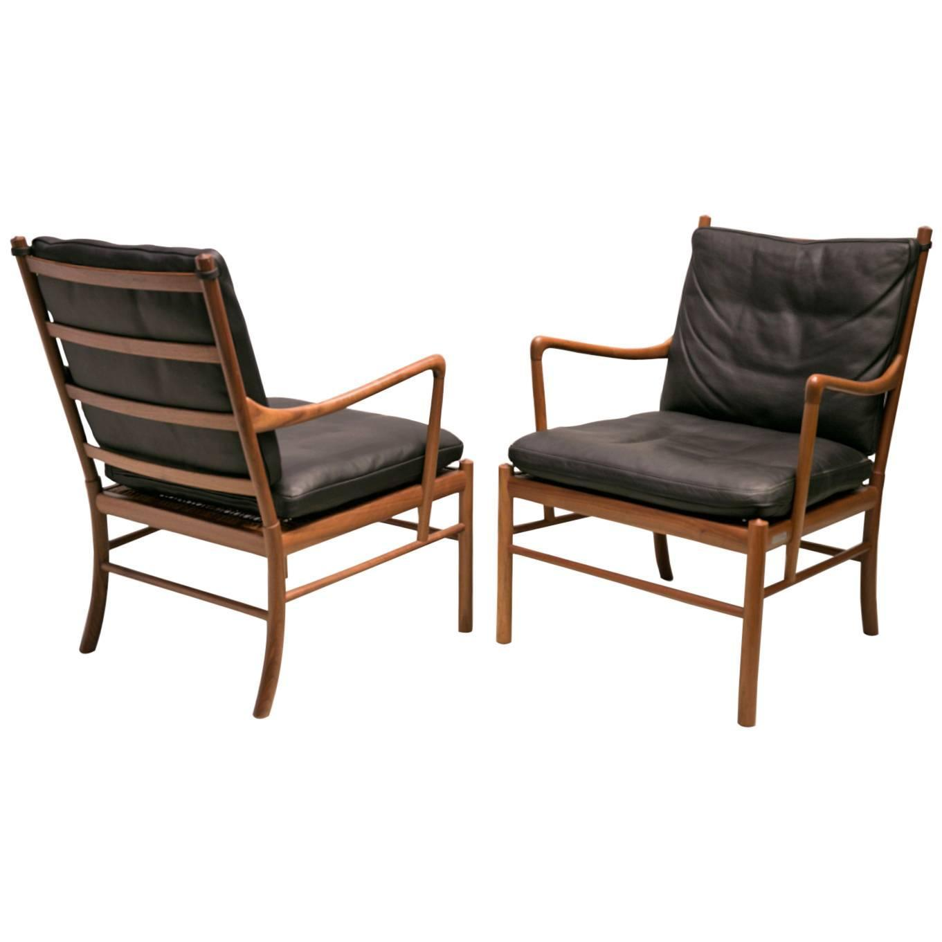 Pair Of Colonial Chairs In American Walnut By Ole Wanscher