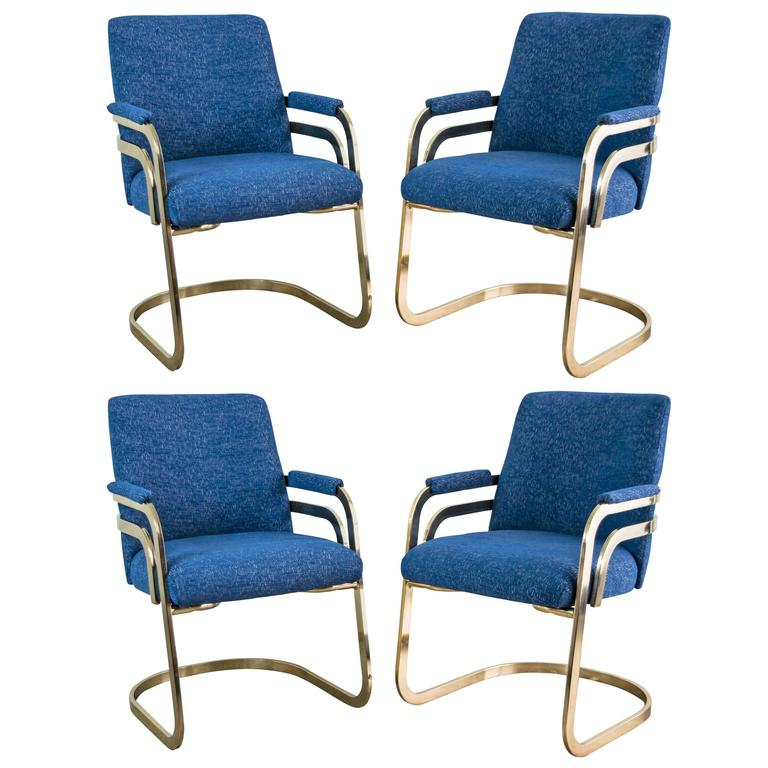 Set Of Four Chromcraft Sculptural Brass Dining Chairs At