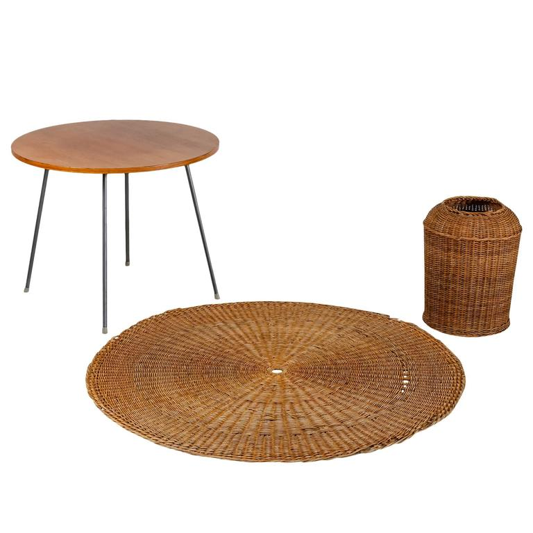 Egon Eiermann Table With Wicker Basket And Floor Mat Germany Circa 1950 For Sale At 1stdibs