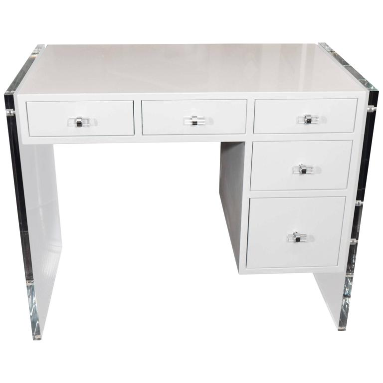 White High Gloss Lacquer Desk With Lucite Side Panels For