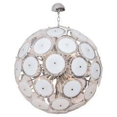 White Murano Glass Disc Sputnik Chandelier