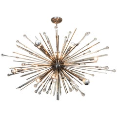 Glass Rod and Teardrop Sputnik Chandelier in Antique Brass