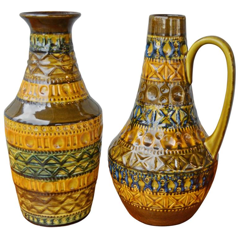 Pair of West German Bay Incised Pottery Vases For Sale