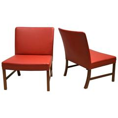 Pair of Slipper Chairs in Teak and Red Leather by Ole Wanscher