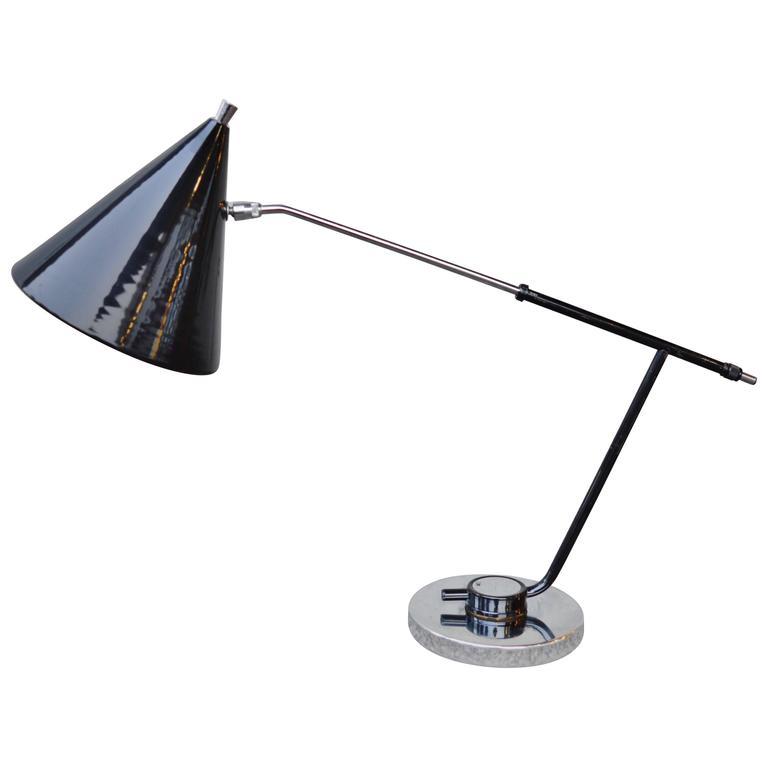 Mid-Century Modern Black and Chrome Desk Lamp 1