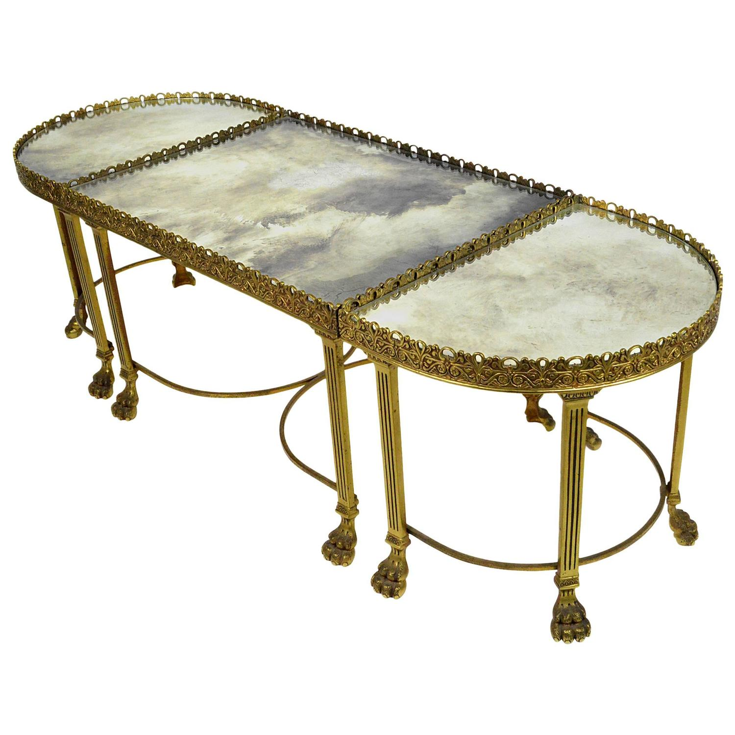 Neoclassical Style Bronze Three Part Coffee Table For Sale at 1stdibs
