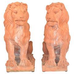 Pair of Italian Terracotta Garden Lions