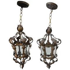 Pair of Italian Wrought Iron Lanterns