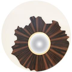 Large Round Lacquered Timber Gold Wall Mirror with Convex Glass