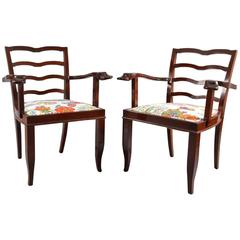 Pair of Charming Vienna Armchairs 1950 with Original Josef Frank Fabric