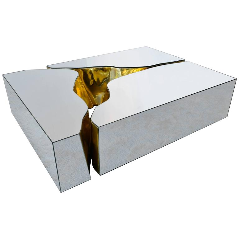 Modern European Mirrored and Brass Lapiaz Coffee Table by Boco Do Lobo 1