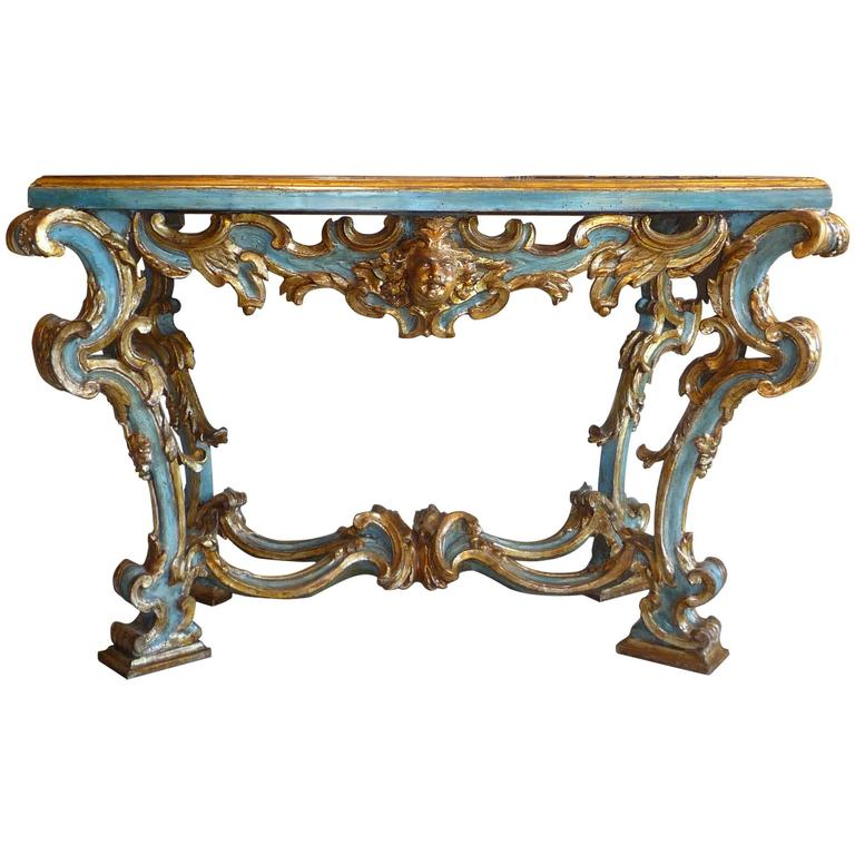 18th century baroque roman painted and gilt carved wood - Baroque console table ...