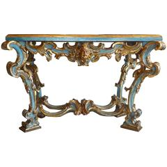 18th Century Baroque Roman Painted and Gilt Carved Wood Console Table