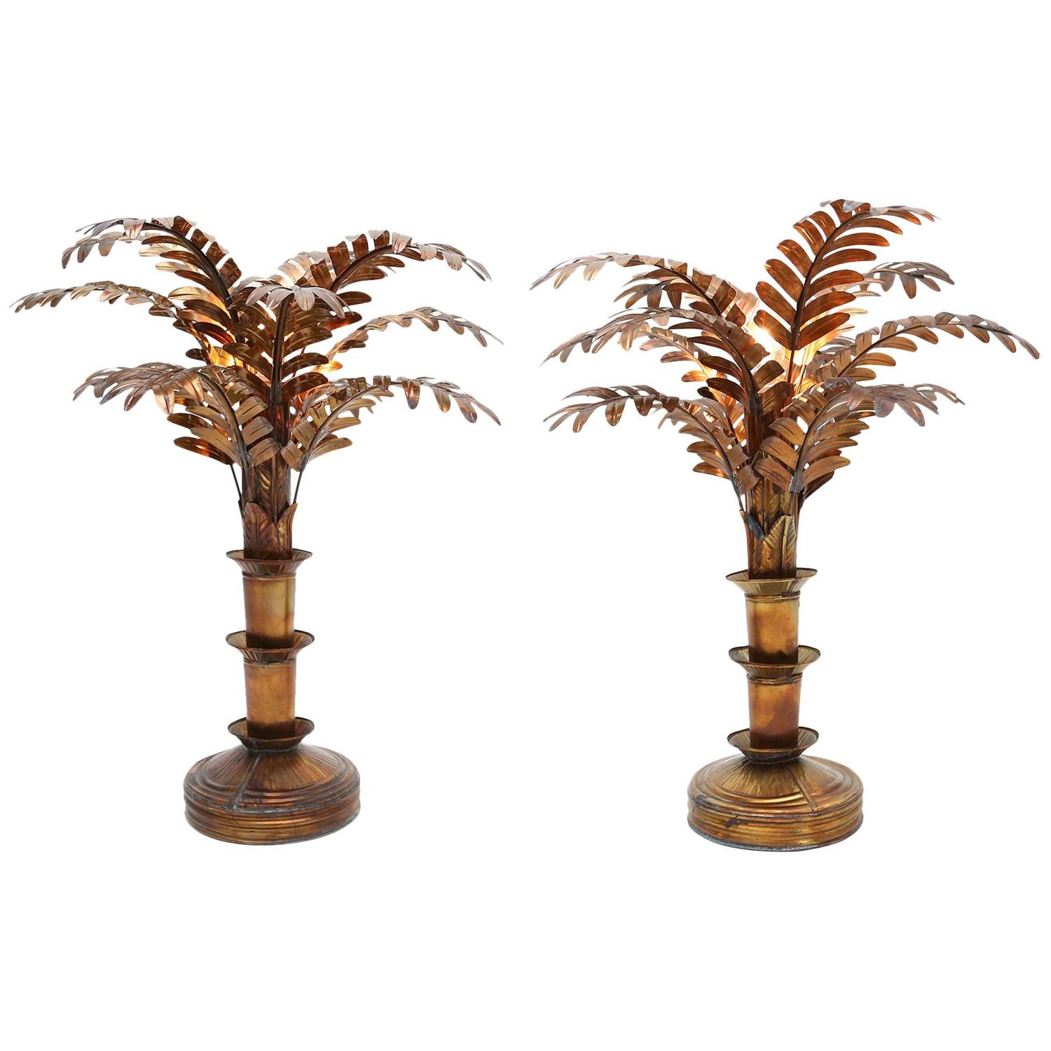 pair of palm tree table lamps at 1stdibs. Black Bedroom Furniture Sets. Home Design Ideas