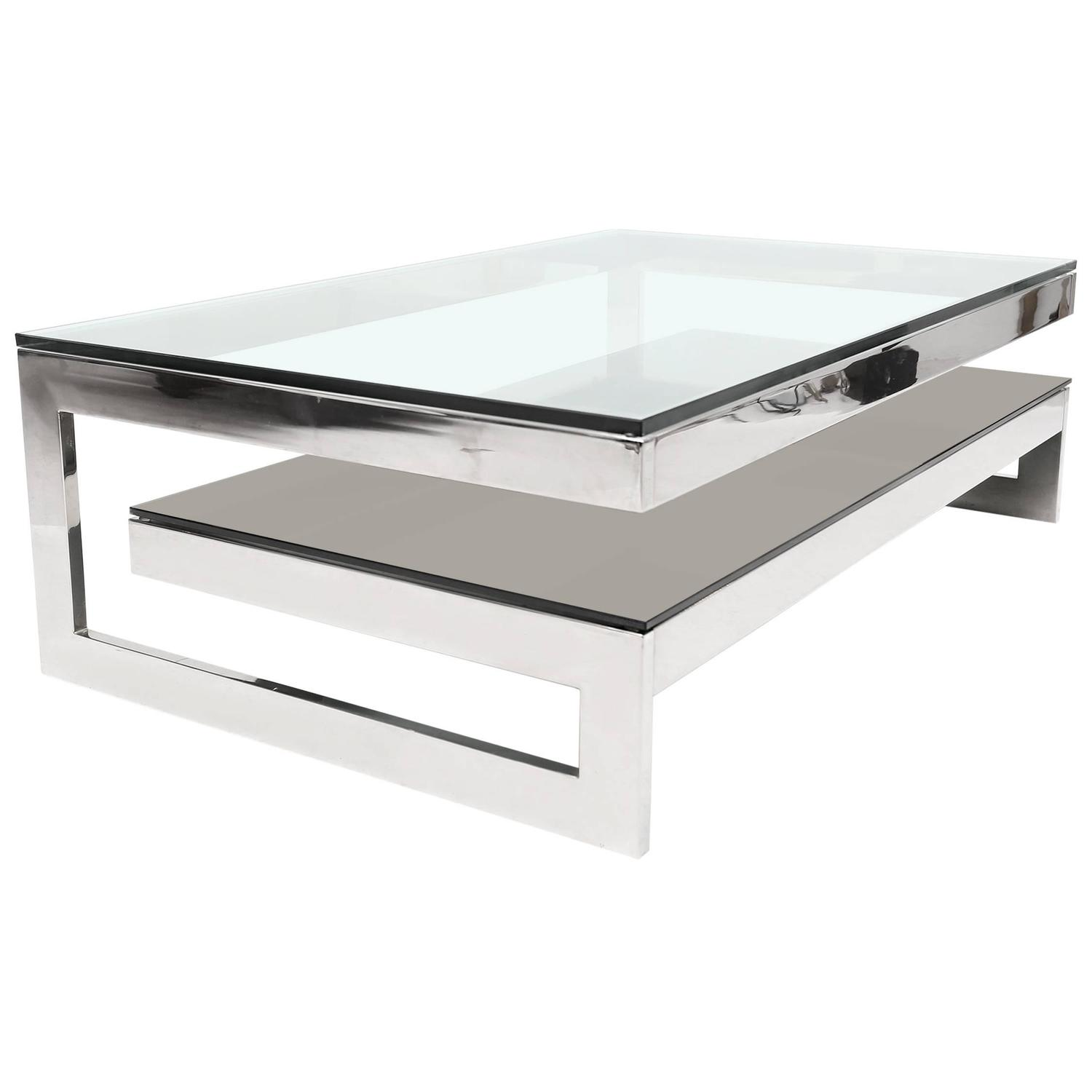 Elegant Chrome And Glass Coffee Table