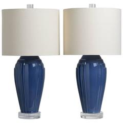 Pair of Art Deco Inspired Blue Ceramic Table Lamps, 1980s