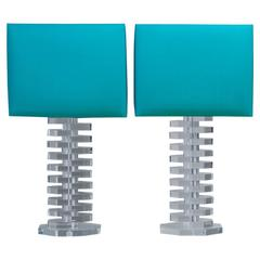 Large Pair of Octagonal Stacked Lucite Table Lamps, 1970s