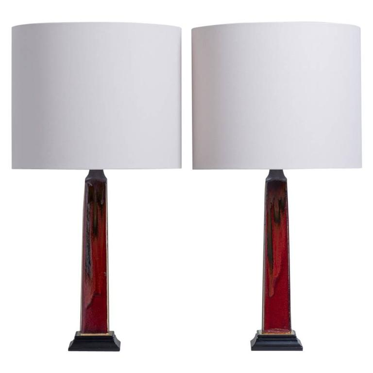Pair of rich red and black glazed ceramic table lamps 1970s for pair of rich red and black glazed ceramic table lamps 1970s for sale aloadofball Gallery