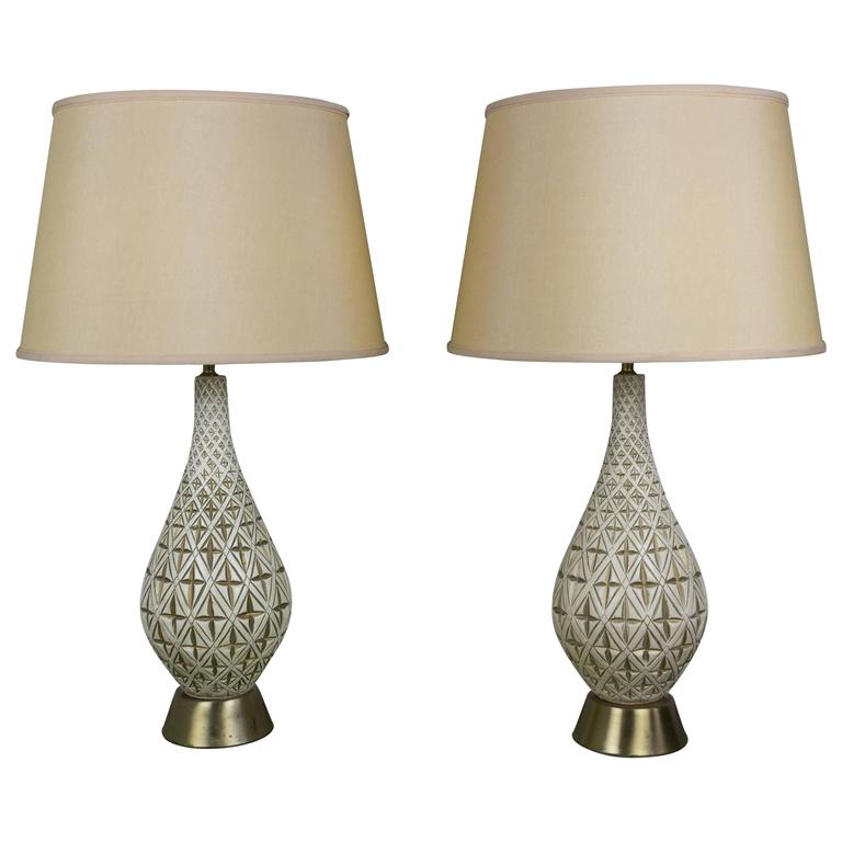 Pair of Jo-Wallis 1950s Ceramic Table Lamps with Gold Design