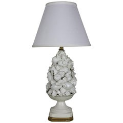 Spanish 1950s White Ceramic Table Lamp with Gilt Wooden Base