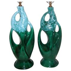 Blue and Emerald Porcelain Lamps