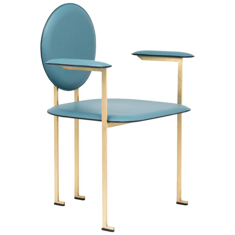 Mario Milana Mm3 Dining Chair Handcrafted in Italy with Cast Brass and Leather For Sale