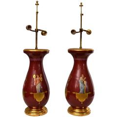Pair of Red Hand-Painted French Table Lamps