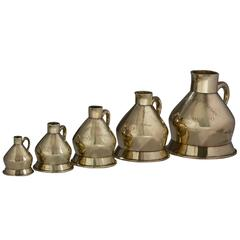 English, set of five brass 19th century Liquid Measures County of Bedford
