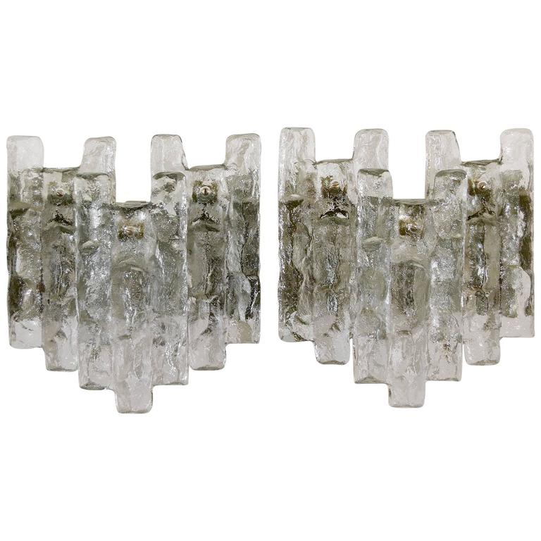 Large Glass Wall Sconces : Pair of Large Kalmar Ice Glass Wall Sconces at 1stdibs
