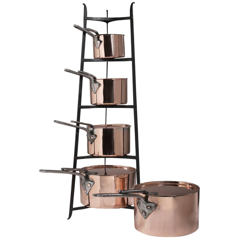 original set of five english copper cooking pots cookware kitchen for sale at 1stdibs. Black Bedroom Furniture Sets. Home Design Ideas
