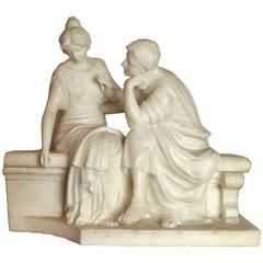 Italian White Neoclassical Marble Group of Lovers Seated on Bench