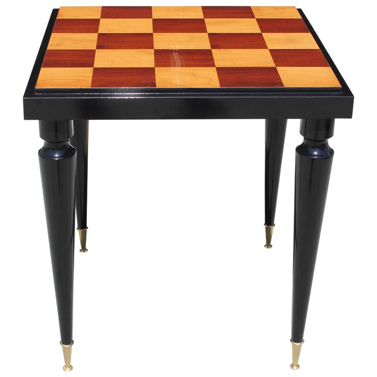 """French Art Deco """"Checkerboard"""" with Black Lacquer Game Table, circa 1940s"""
