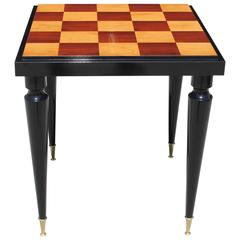 "French Art Deco ""Checkerboard"" with Black Lacquer Game Table, circa 1940s"