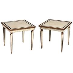 Pair of Painted Gilded Cream & Gold Square Low Tables