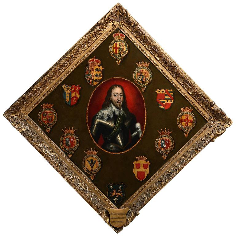 Rare 18th Century Portrait Hatchment of Charles I with Crests of his Supporters