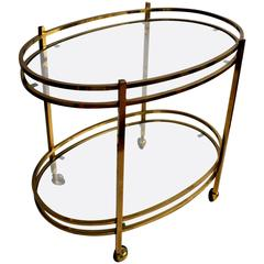 Vintage Oval French Brass Drinks Trolley/Bar Cart