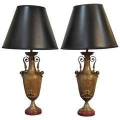 Pair of Cast Bronze Urn Lamps
