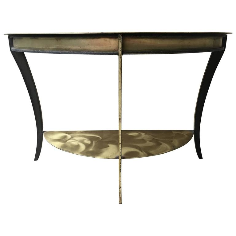 Two-Tier Brushed Metal Demilune Console