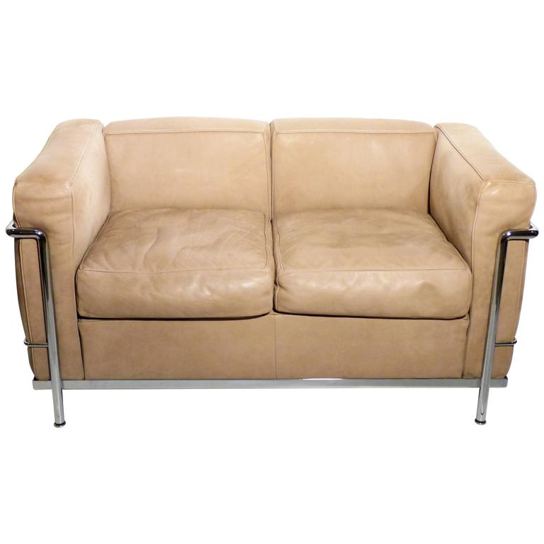 Lc2 two seat sofa by le corbusier et al cassina leather and chrome at 1stdibs Le corbusier lc2 sofa