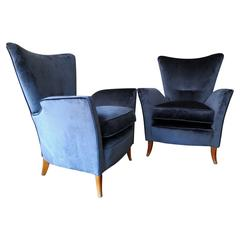 Pair of Italian Blue Velvet 1950s Armchairs in the Manner of ISA